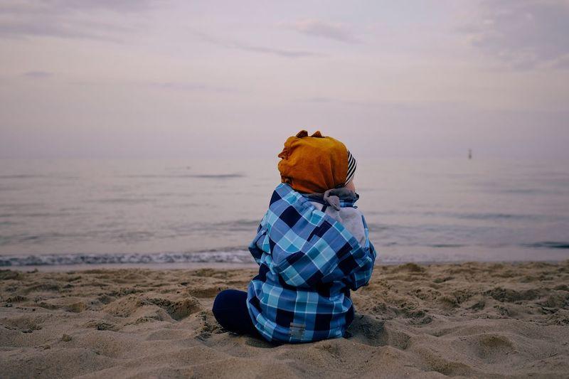 Boy Child EyeEm Selects Beach Water Sea Land Sand Sky Rear View Scenics - Nature Nature Horizon Over Water