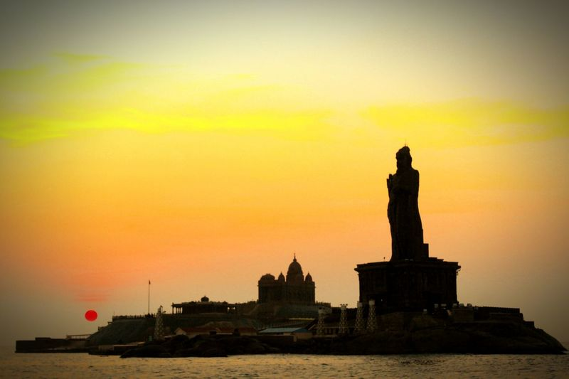 TakeoverContrast Sunrise Contrasting Colors Thiruvalluvar Statue Beauty In Nature Morning Light