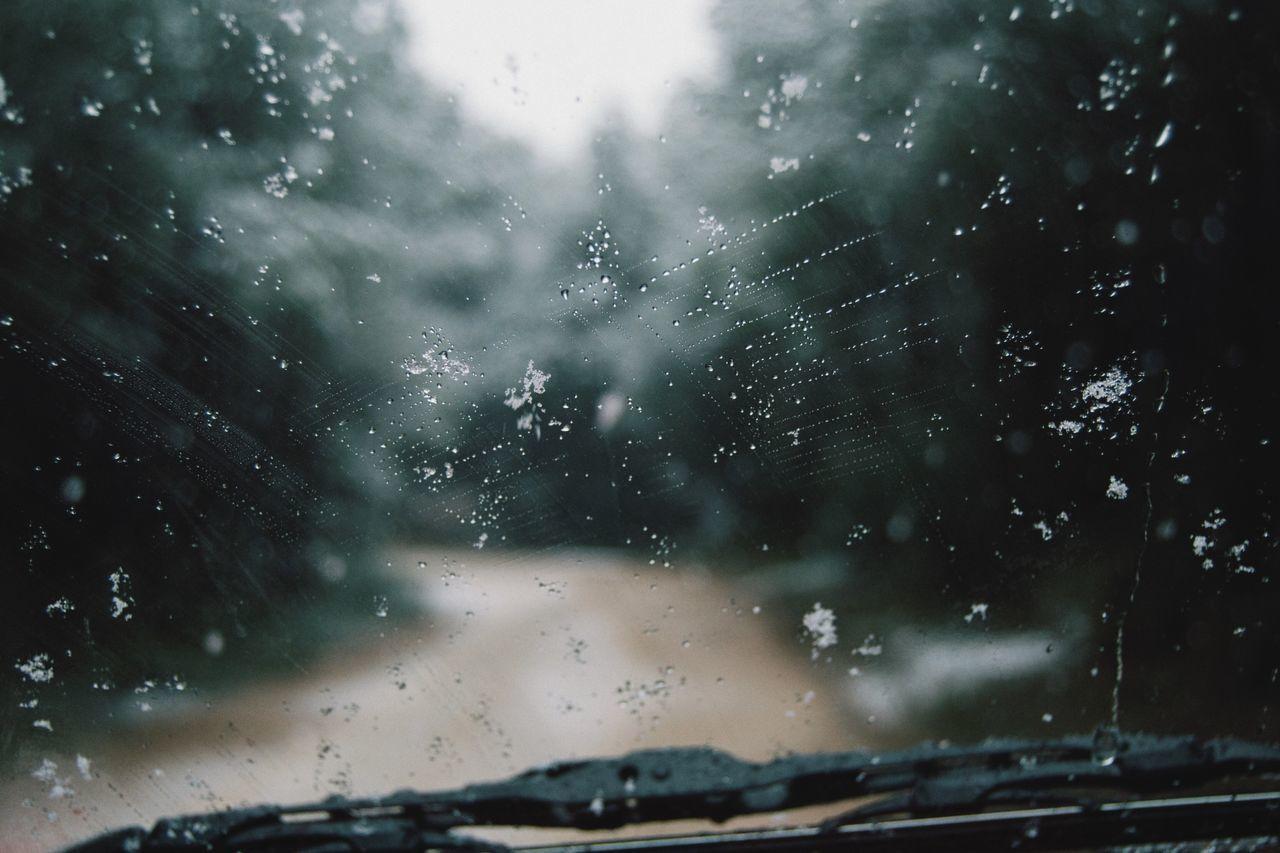 Snowflakes on windshield