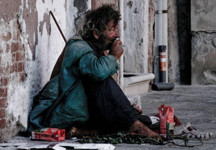 Homeless man in
