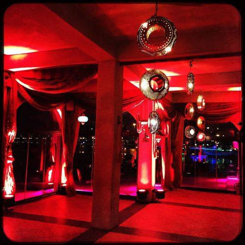 Arabian flair Lighting Equipment Illuminated Red Architecture Indoors  Night Built Structure Decoration Hanging Light Ceiling Event
