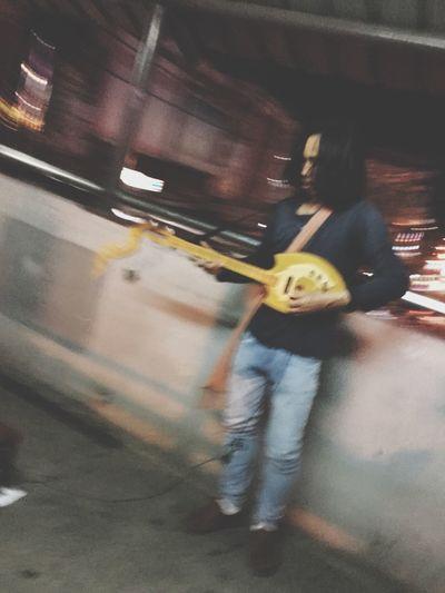 Motion Speed Real People Road Street Lifestyles Men Musician Guitar Guitarist Streetshowman Open Asian  Nightlife Lightlight Nightlights