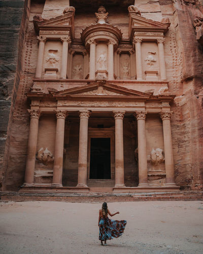 Woman in front of petra