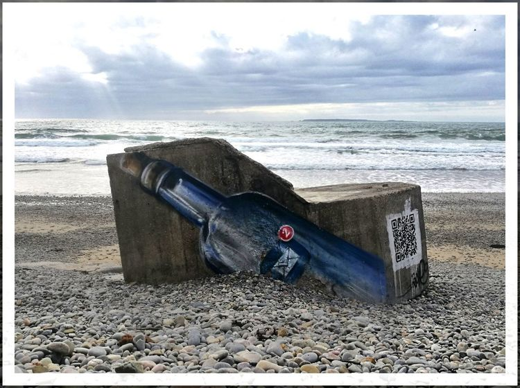 Message In A Bottle Best EyeEm Shot First Eyeem Photo Débarquement Bouteille Bouteille à La Mer Sos Galet Plage Normandie France Nature Paysage Streetart Street Art Water Sea Nautical Vessel Beach Sand Rescue Sky Horizon Over Water Abandoned A New Perspective On Life