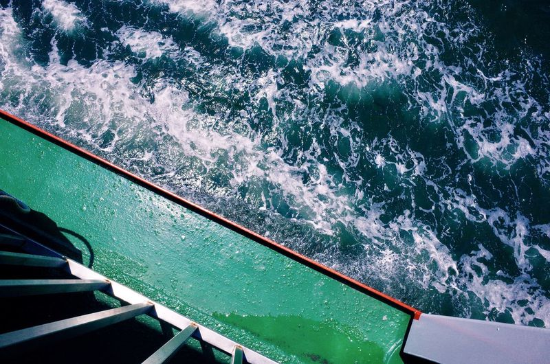 Aquatic Sport Beauty In Nature Day High Angle View Mode Of Transportation Motion Nature Nautical Vessel Outdoors Power In Nature Sea Sport Surfing Transportation Turquoise Colored Wake Wake - Water Water Wave Wave Pattern