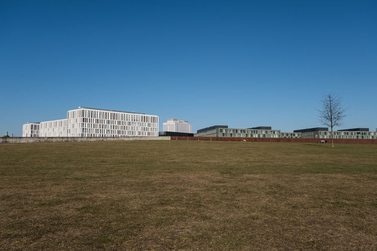 View of built structures against clear sky