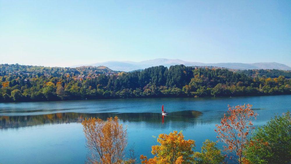 lake Alone... Simple Calm Sun Water Mountain Clear Sky Tree Lake Blue Reflection Sky