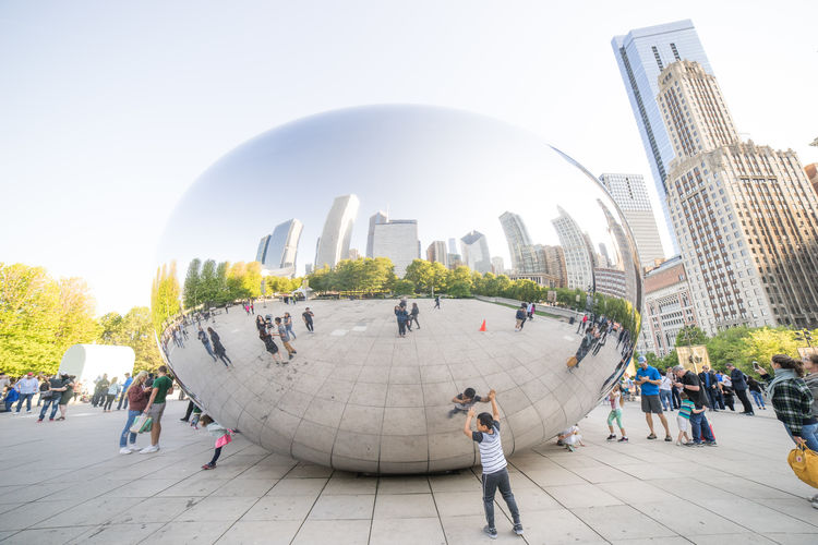 Cloud Gate Chicago USA Adult Architecture Building Building Exterior Built Structure Chiacago City Clear Sky Cloud Gate Crowd Day Group Of People Incidental People Large Group Of People Men Nature Office Building Exterior Outdoors Real People Sky Skyscraper Tourism Travel Travel Destinations
