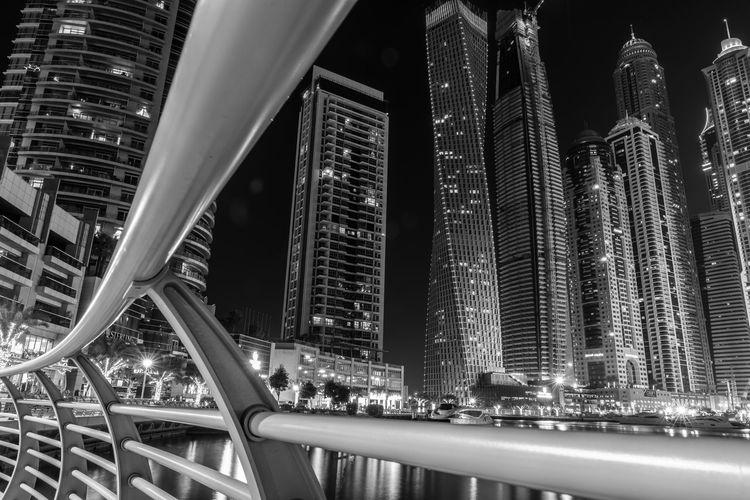 Modern skyscrapers at night