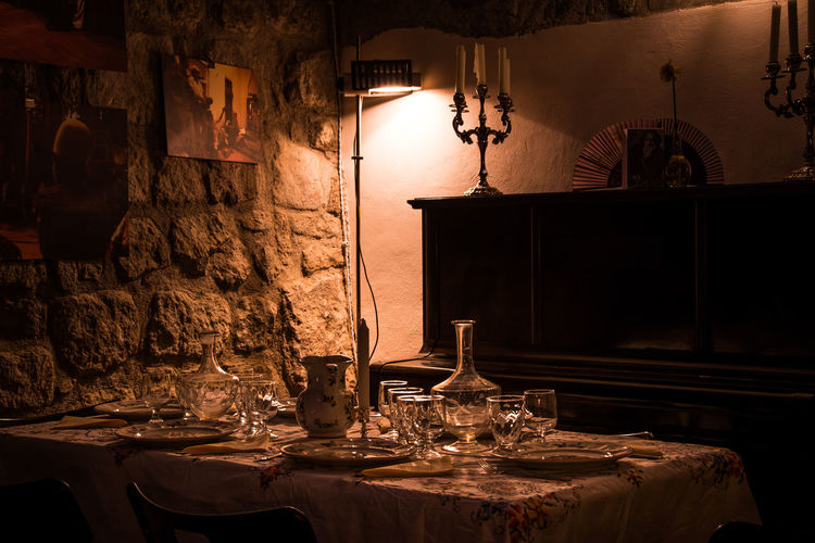 Cena Da Fiaba Countrystyle Dinner Room Dinner Table Dishes Glasses Italian Style Italy Light Piano Romantic Still Life