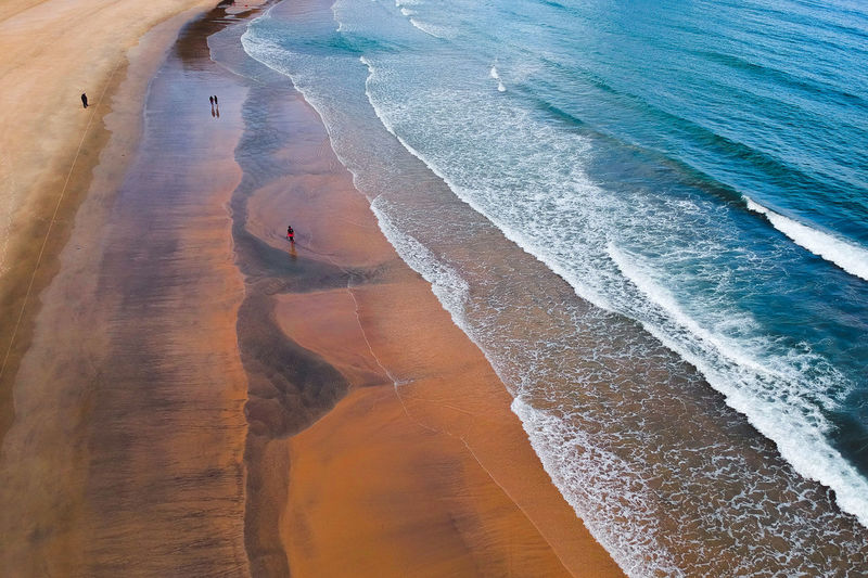 the beautiful texture beach view Water Sea Land Beach High Angle View Beauty In Nature Sport Surfing Wave Sand Aquatic Sport Motion Tranquility Scenics - Nature Day Nature Tranquil Scene Outdoors Vacations