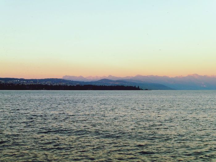 Sunset Water Lac Lausanne Suisse  Mountains Alpes Alpessuisses