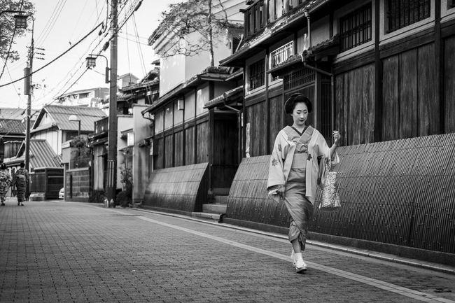 Black And White Black And White Photography City City Life Full Length Geiko Geisha Gion Japan Kimono Kyoto Lifestyles Maiko Nature Outdoors Portrait Up Close Street Photography
