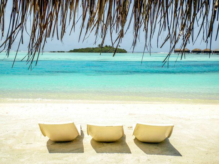 Rear view of three reclining chairs on calm beach