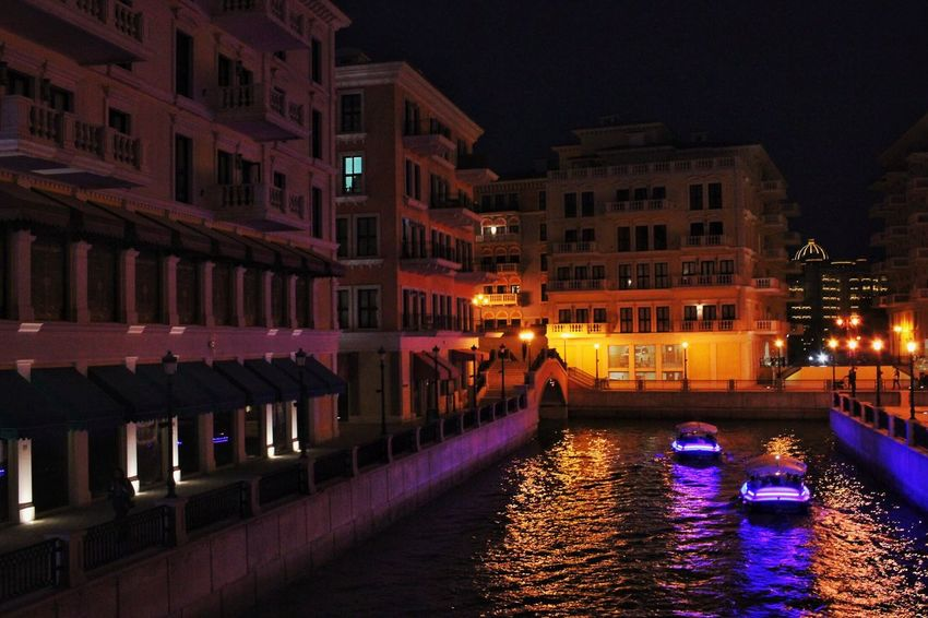 Architecture Building Exterior Night Built Structure Illuminated Canal Water
