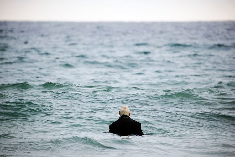 Day Farewell Headshot Horizon Horizon Over Water Lonesome Lonliness One Person Outdoors Rear View Sea The Old Man And The Sea Water