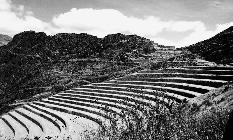 Monochrome Photography Black And White Cloud - Sky Outdoors Sky Agriculture Horizontal Tree Day Nature Landscape No People Terraced Field Cusco Cusco, Peru Pisac Perú Pisaq Inca Ancient Ancient Architecture Prehispanic