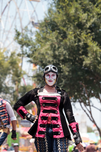 Costa Mesa, CA, USA - July 14, 2017: Dragon Knights steampunk stilt walkers perform at the Orange County Fair in Costa Mesa, CA on July 16, 2016. Editorial use only. Circus Dragon Knights Entertainment Fair OC Fair Orange County Fair Park Performance Performer  Steampunk Stilt Walkers