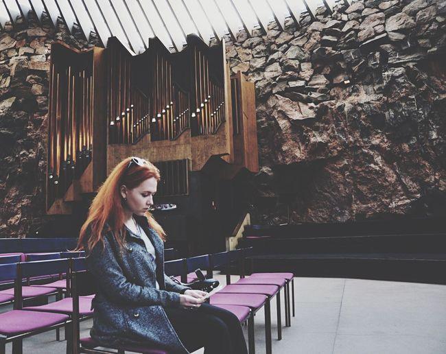 Religion Church Rock Church Helsinki Finland Portrait model: my friend Darya Ginger The Portraitist - 2015 EyeEm Awards Praying Thinking