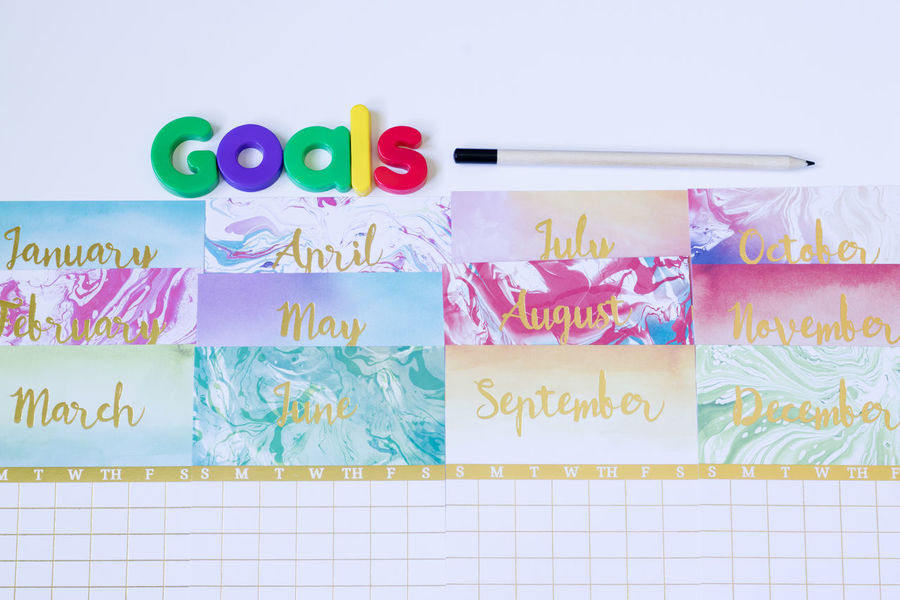 Creativity Goals Calendar Calendars Colorful Creative Goal Learning Months Multi Colored Overhead Text Top View White Background
