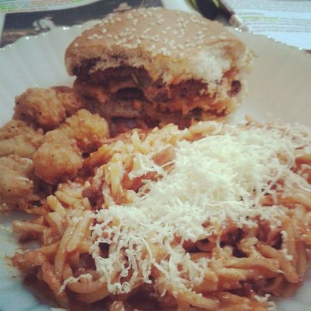 "Considering these as my snack and/or dinner (,) currently eating Big Mac, chicken McBites, and mom's spag. yiiee. Sosyal =))) Hihi. :"") Food Instafood Foodporn McDonalds McDo BigMac burger McBites pasta spag spaghetti ajejeje."