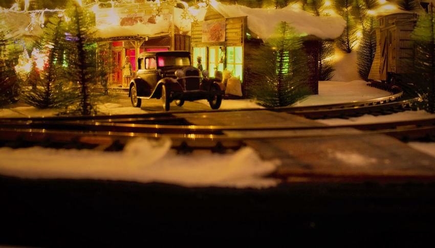 Level Crossing Christmas Scene Lights Winter Scene Creative Hand Made Hobbies Illuminated Level Crossing Sign Miniature Town Model Trains Night No People Old Car Outdoors Railway Train Hobbies Tree