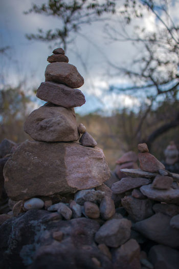 Stack of stones on pebbles