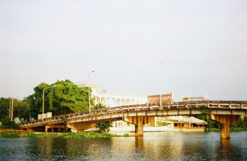 View of bridge over river against sky