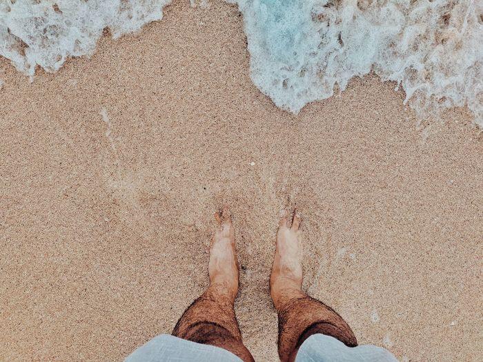 Low Section Beach Standing Sand Human Leg barefoot High Angle View Human Foot Personal Perspective Human Feet Shore Sandy Beach Ocean The Mobile Photographer - 2019 EyeEm Awards