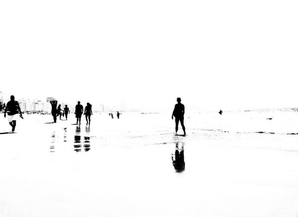 Silhouette Reflection Black And White Blancoynegro Tranquil Scene Blackandwhitephoto Black And White Collection  Blackandwhitephotography Cidademaravilhosa Rio De Janeiro Rio De Janeiro Eyeem Fotos Collection⛵ Travel Destinations Beachphotography Beach Walk Beach Life Beach Photography Copacabana Beach The City Light Live For The Story
