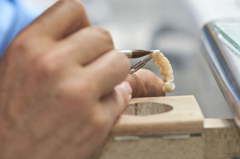 Close-up of dentist using paintbrush on artificial teeth