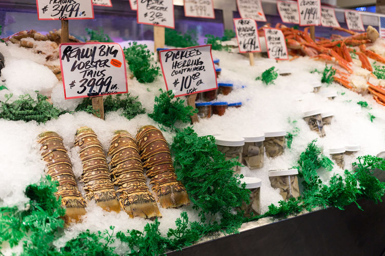 Fresh seafood display at pike place public market