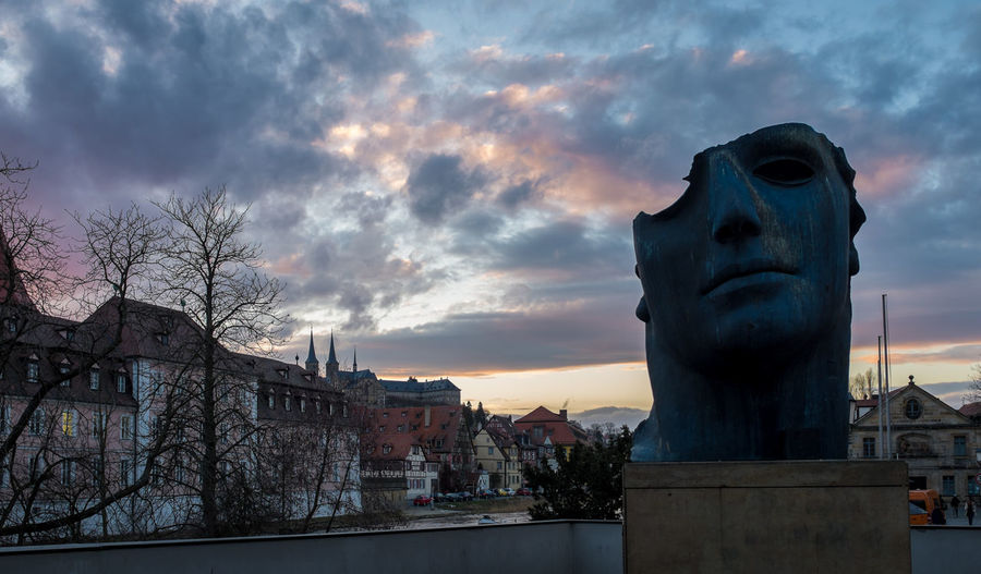 Untere Brücke (Bridge) in Bamberg during sunset Abtei Michaelsberg Bamberg  Cloud Dramatic Sky Face Franconia Historic History Medieval Moody Sky Oberfranken Sculpture Skyporn Sunset The Face Of Bamberg Unesco UNESCO World Heritage Site