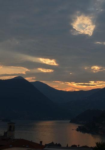 Lago D'Iseo Beauty In Nature Cloud - Sky Evening Sky Idyllic Lake Mountain Mountain Range No People Non-urban Scene Scenics - Nature Sky Sulzano Sunset Tranquil Scene Tranquility Water