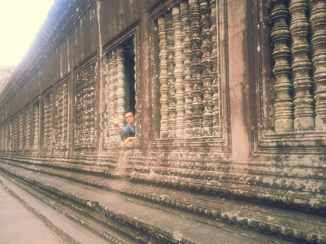 Built Structure Architecture Window Day Building Exterior Outdoors One Person People Siamreap Cambodia Blind Windows