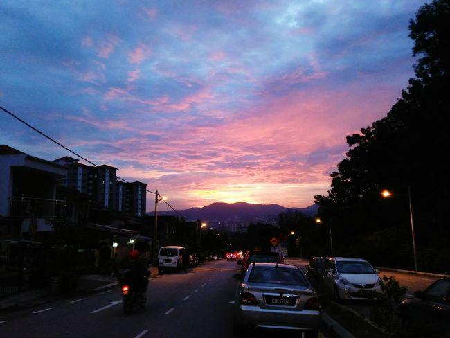 City Street Street Car Sunset Cloud - Sky Sky Outdoors City City Life Night Architecture Illuminated No People Cityscape