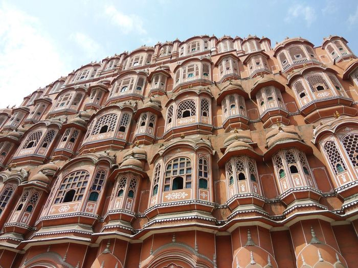 Low angle view of hawa mahal against sky