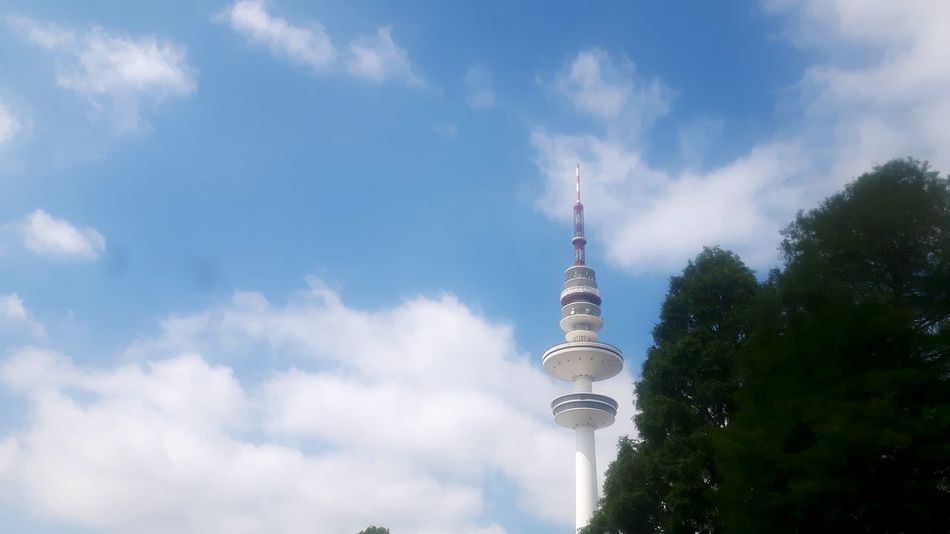 Tower Architecture Tall - High Travel Destinations Communication Cloud - Sky Broadcasting City Television Industry Sky Tourism Travel Outdoors Built Structure Building Exterior Skyscraper Panoramic Day No People Tree Television Tower Heinrich-Hertz-Turm Fernsehturm hamburg television tower Television