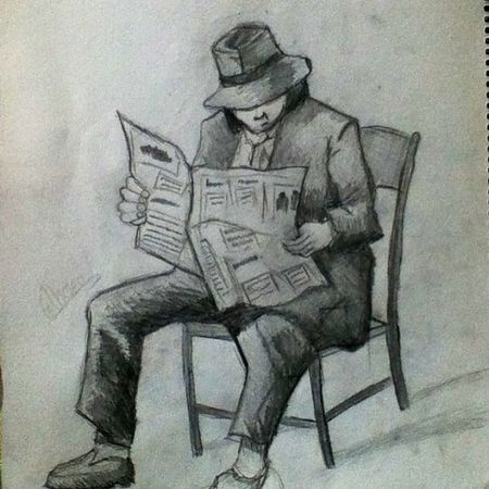 Drawn by me :) Poor  Man Poorman Reading art drawing sketch artnerd artsnapper artists_community artstag nawden artcollective art_by_you3 art_sta_gram drawing_arts arthup sunshine_arts pencil awesome gamda Instagram followme followback follow