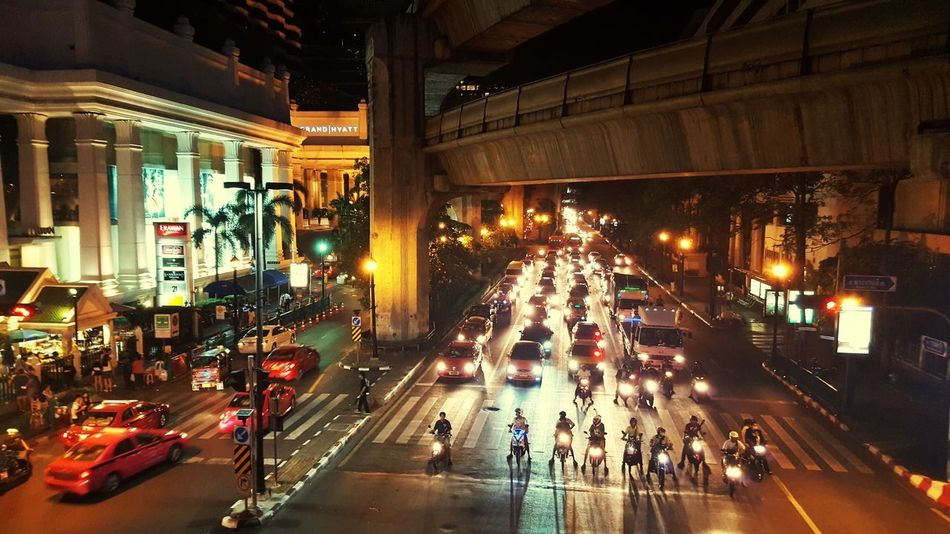 Bangkok Thailand. Illuminated Night Large Group Of People Transportation Built Structure Architecture Car