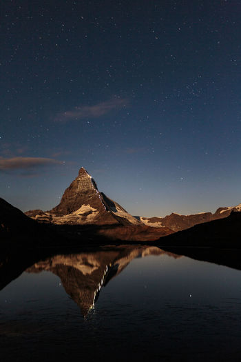 The way of the first ascent to the Matterhorn 150th Anniversary Of First Matterhorn Ascent Beauty In Nature Clear Sky First Ascent Lake Landscape Matterhorn  Matterhorn Zermatt Mountain Mountain Range Nature Night No People Outdoors Reflection Sky Snow Water Zermatt