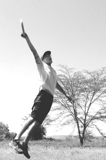 Day Outdoors Fun Sport Frisbee Catch Jump
