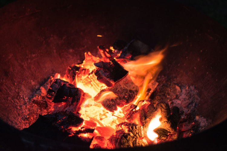 Close-Up Of Fire Burning