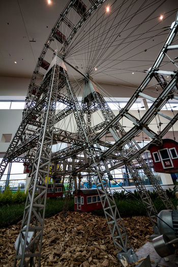 Amusement Park Amusement Park Ride Built Structure Architecture Low Angle View Arts Culture And Entertainment Ferris Wheel No People Day Nature Outdoors Building Exterior Sky Metal Absence Fairground Swing Playground Building Ceiling Minimundus Wienerriesenrad