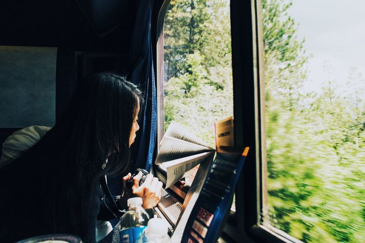 We enjoyed a train trip in America. Window Transportation Train - Vehicle Mode Of Transport Public Transportation Indoors  Looking Through Window Journey Lifestyles Young Women Travelwithfriends Let's Go. Together. Train America Startrek
