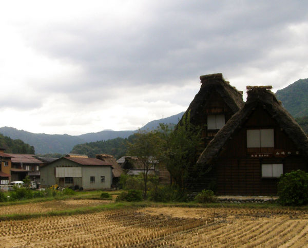 Built Structure Cloud Farmhouse Gifu Japan Mountain Range Ricefield Rural Scene Shirakawa-go Shirakawago Thatched Roof Village Worldheritage