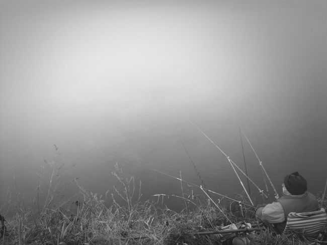 old man fishing in a fogged up pond. wonder if he caught any fish... Black And White Streetphoto_bw Blackandwhite Photography Black And White Portrait