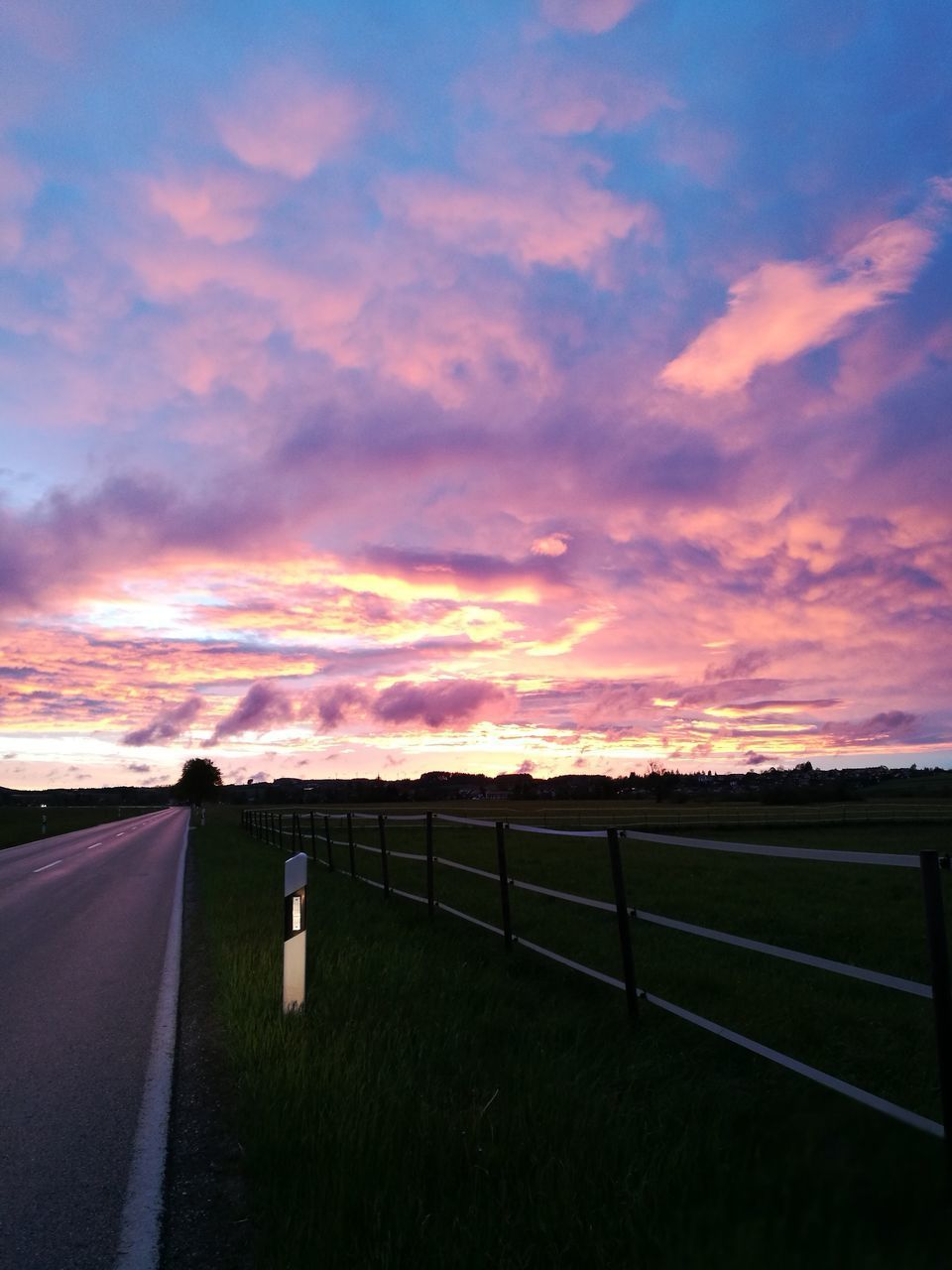 sunset, cloud - sky, sky, railing, no people, tranquil scene, nature, scenics, tranquility, outdoors, road, beauty in nature, day