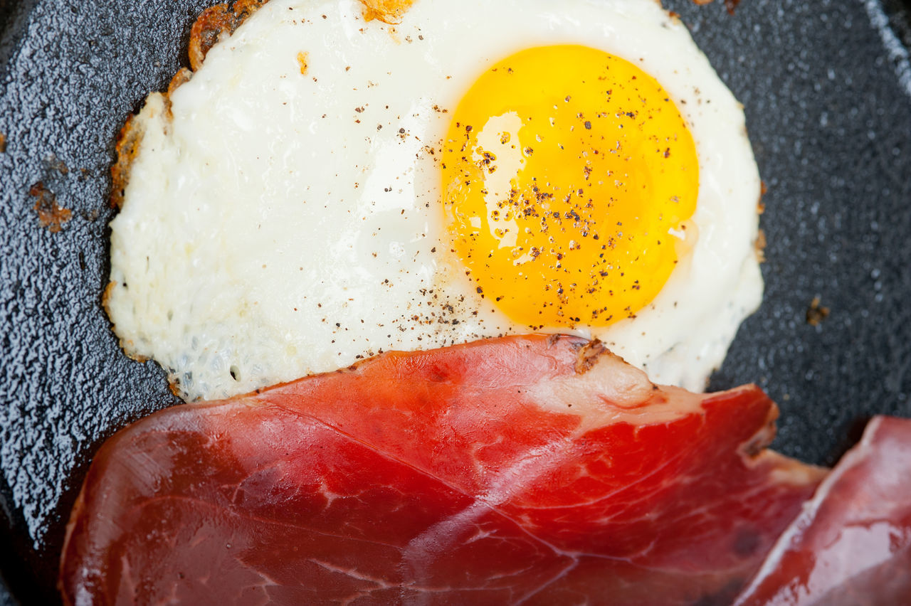 egg, food, fried egg, egg yolk, food and drink, breakfast, meat, fried, indoors, close-up, bread, no people, healthy eating, freshness, ready-to-eat, day