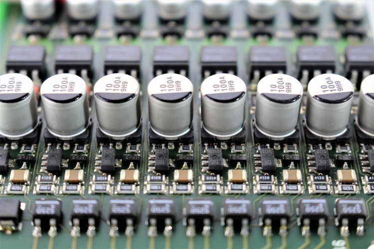 An image of a circuit board, various components Electronic Processor Board Chip Circuit Circuit Board Close-up Components Digital Engineering Hardware Microchip Motherboard Technology